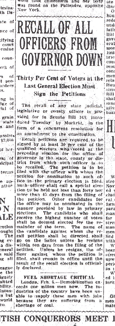 The Bismarck Tribune: Recall Amendment Article