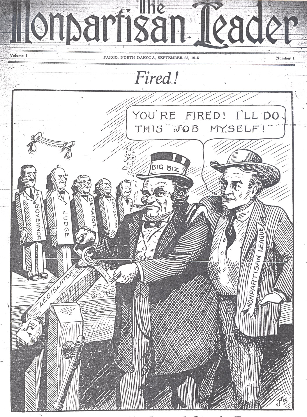 John M. Baer's illustrated character from the first issue of the Nonpartisan Leader