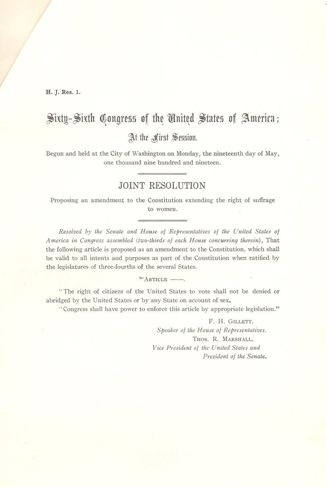 section w suffrage to north dakota studies document 8 1 of 2 side 1 in 1919 congress passed an amendment to the u s constitution the amendment had to be approved by the legislatures of