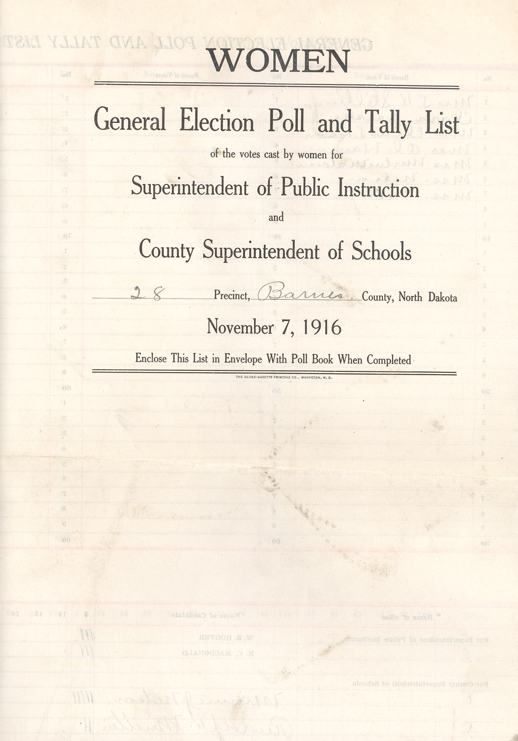 section w suffrage to north dakota studies w s ballot