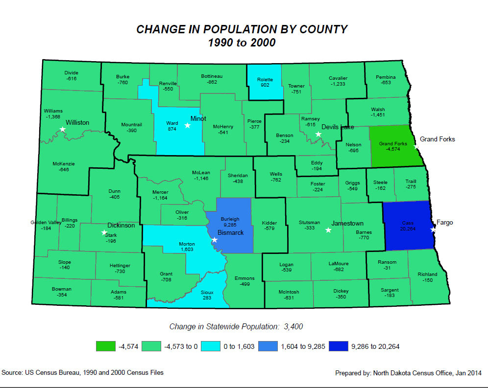 Map 6 - Population maps. These maps show how the population has grown or declined in each county in North Dakota from 1970 to 2010. During this time period, the western counties saw both decline and growth depending on the development of the oil and gas fields. Cass County (Fargo) saw steady growth. Many counties were in a constant state of decline.
