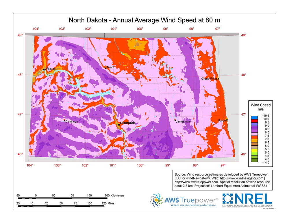 North Dakota Wind Speeds
