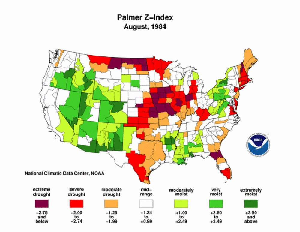 Palmer Maps, 1984-2011. These Palmer Z-Index maps indicate that drought appears periodically in North Dakota, but often is very localized. The map of 2011, shows the excess rainfall that resulted in flooding in the Missouri, Mouse, and Red River valleys.