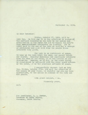 September 11, 1922 Letter to the Governor
