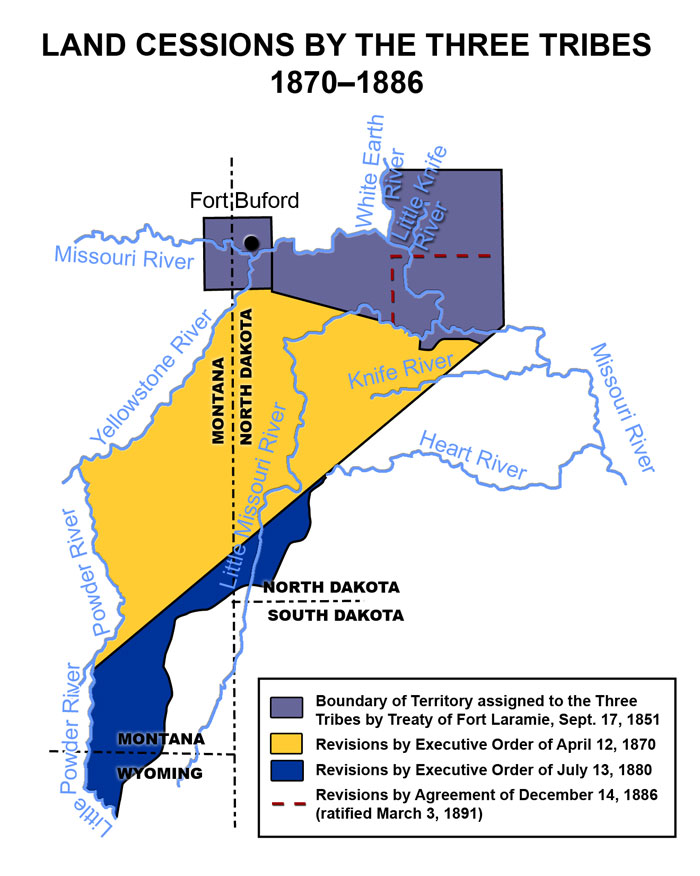 Land Cessions by the Three Tribes, 1870-1886