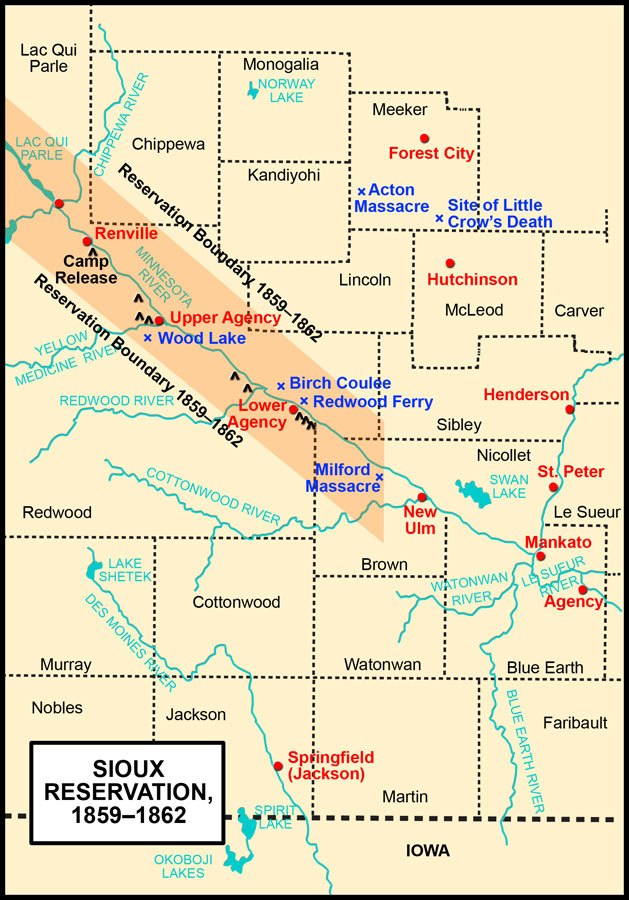 Sioux Reservation, 1859–1862