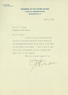 Congressman Sinclair's first letter to Mr. Cathro
