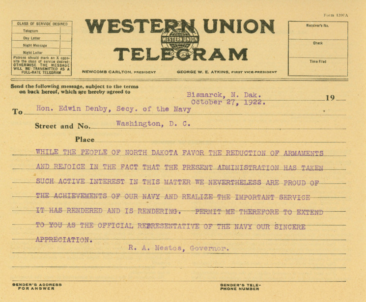 Telegram to Hon. Edwin Denby, Secy. Of the Navy